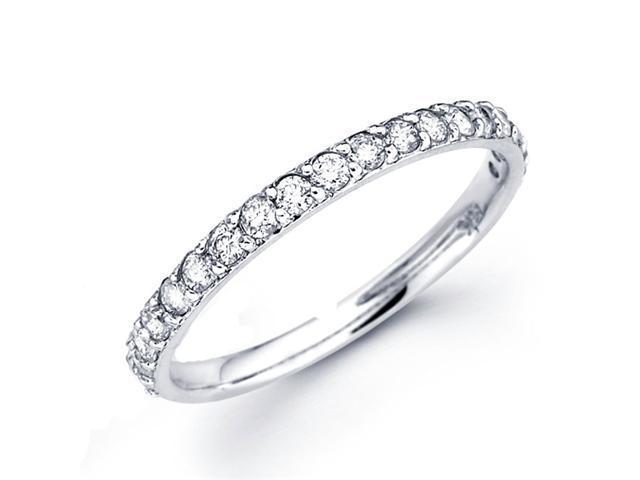 Diamond Wedding Band 14k White Gold Anniversary Ring (0.38 Carat)