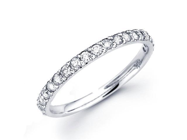 Diamond Wedding Band 14k White Gold Anniversary Ring (0.38 Carat)