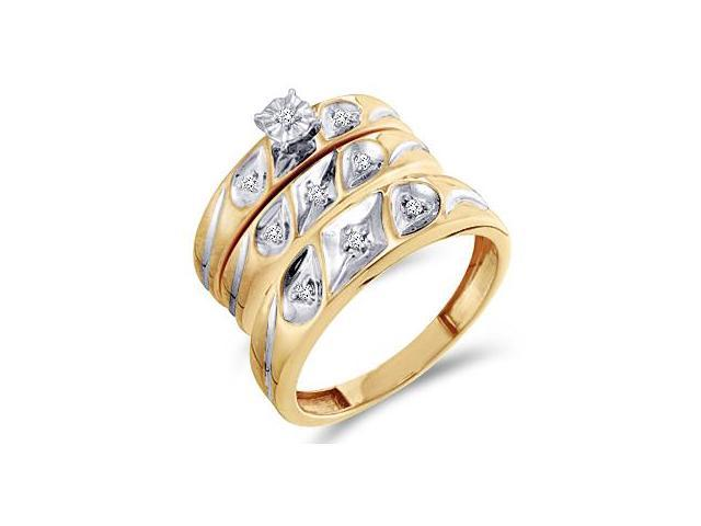 Diamond Engagement Rings Set Wedding Bands Yellow Gold Men Lady .11ct