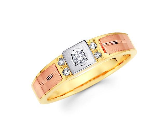 Women's Diamond Wedding Ring 14k Multi-Tone Gold Band (0.11 Carat)