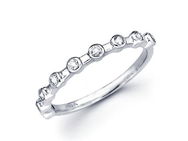 Diamond Wedding Band 18k White Gold Anniversary Ring Bezel (0.16 CTW)