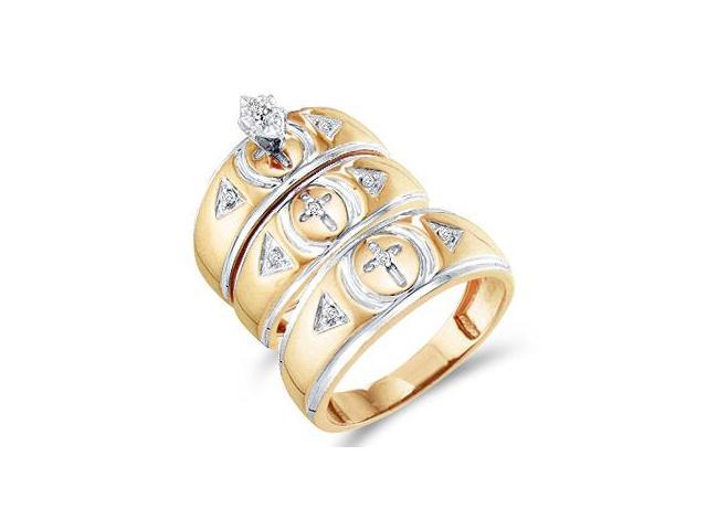 Diamond Engagement Rings Set Wedding Bands Yellow Gold Men Lady .16 CT
