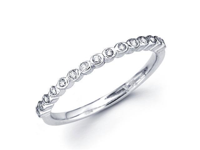 Bezel Diamond Wedding Band 18k White Gold Anniversary Ring (0.16 CTW)