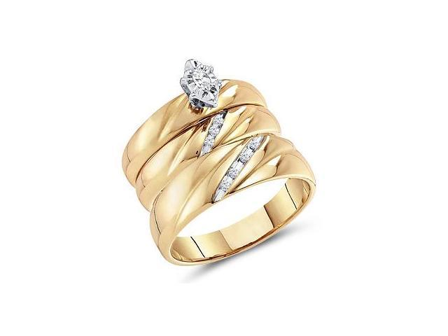 Diamond Engagement Rings Set Wedding Bands Yellow Gold Men Lady .17 CT