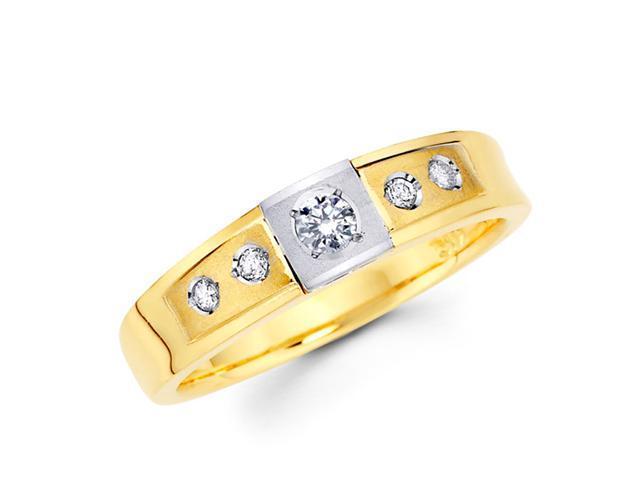 Women's Diamond Wedding Ring 14k Multi-Tone Gold Band (1/5 Carat)