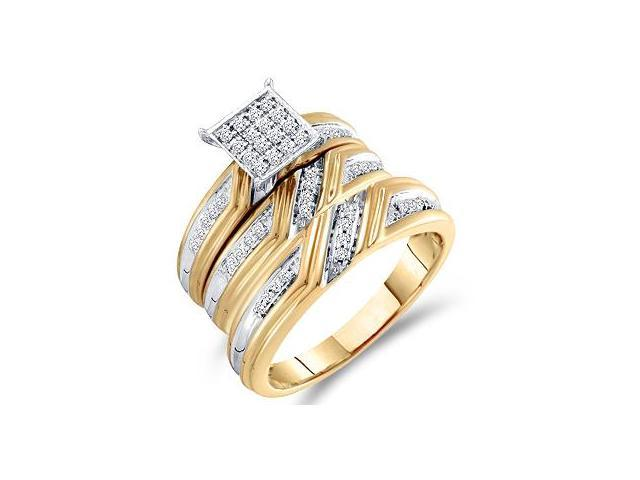 Diamond Engagement Rings Set Wedding Bands Yellow Gold Men Lady .29 CT
