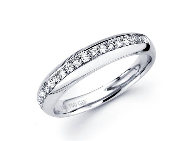Diamond Wedding Band 18k White Gold Anniversary Ring Round (1/5 Carat)
