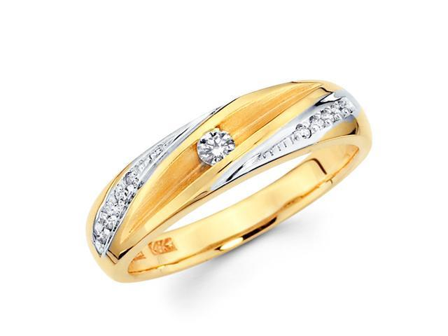 Women's Diamond Wedding Ring 14k Multi-Tone Gold Band (0.16 Carat)