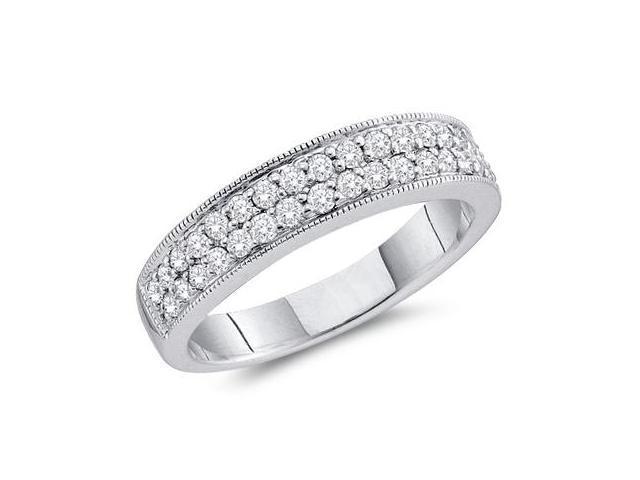 Diamond Wedding Ring 14k White Gold Bridal Anniversary Band (0.50 CT)