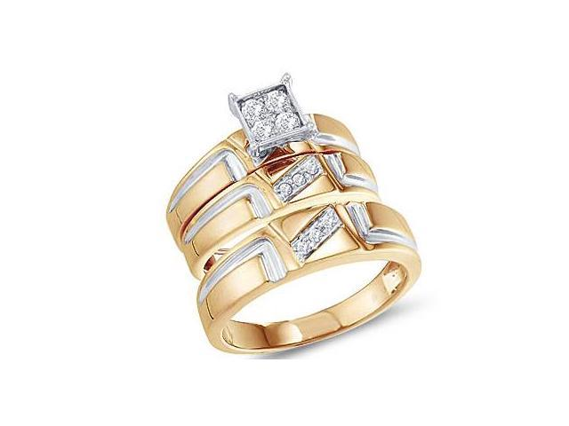 Diamond Engagement Rings Set Wedding Bands Yellow Gold Men Lady .28ct