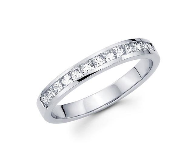 Princess Diamond Wedding Band 14k White Gold Anniversary Ring (1/2 CT)
