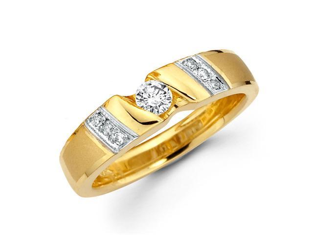 Women's Diamond Wedding Ring 14k Multi-Tone Gold Band (1/4 Carat)
