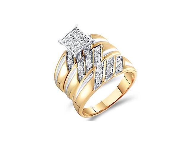 Diamond Engagement Rings Set Wedding Bands Yellow Gold Men Lady .29ct