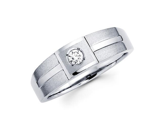 Women's Diamond Wedding Ring 14k White Gold Band (0.09 Carat)