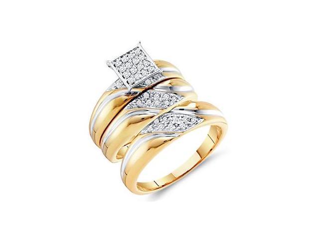 Diamond Engagement Rings Set Wedding Yellow Gold Men Lady .29 ctw