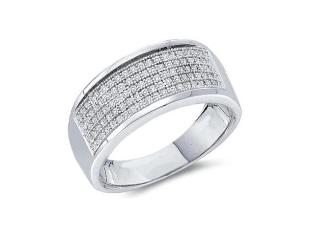 Diamond Wedding Ring White Gold Anniversary Band Micro Pave (1/3 CTW)