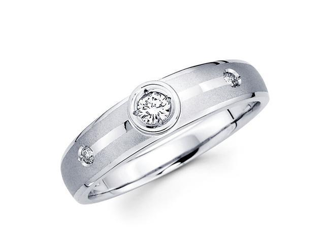Women's Diamond Wedding Ring 14k White Gold Band (0.13 Carat)