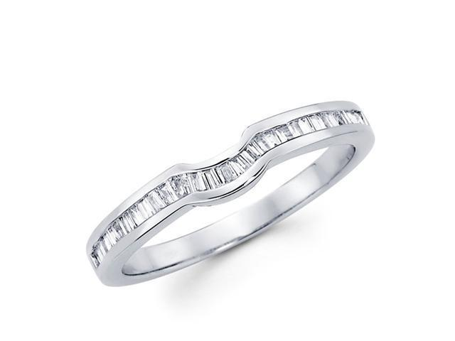 Diamond Wedding Ring 18k White Gold Anniversary Band Baguette (1/4 CT)