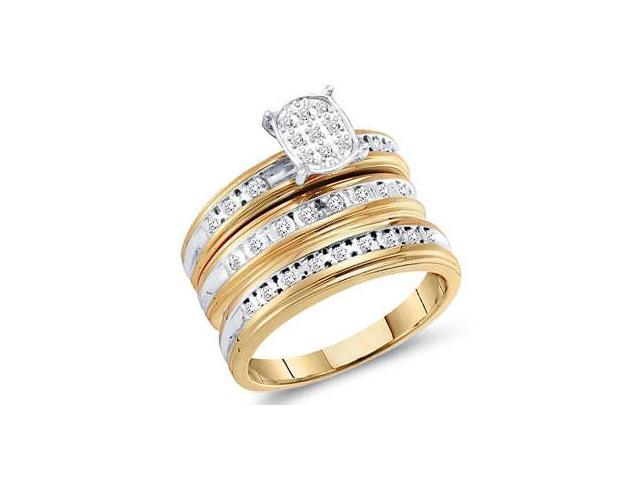 Trio Diamond Rings Bridal Set Engagement Wedding Yellow Gold .30ct
