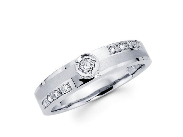 Women's Diamond Wedding Ring 14k White Gold Band (0.16 Carat)