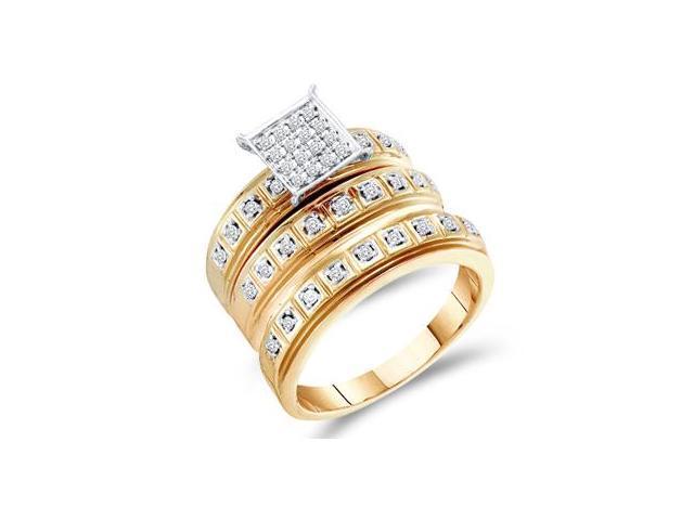 Trio Diamond Rings Bridal Set Engagement Wedding Yellow Gold .29ct