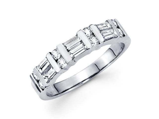 Diamond Wedding Band 14k White Gold Anniversary Ring Bar Set (3/4 CTW)