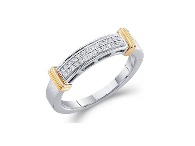Diamond Ring Wedding Band 10k Yellow White Gold (0.08 Carat)