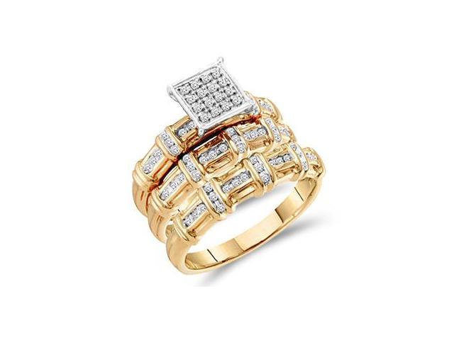 Diamond Engagement Rings Set Wedding Bands Yellow Gold Men Lady .31 CT