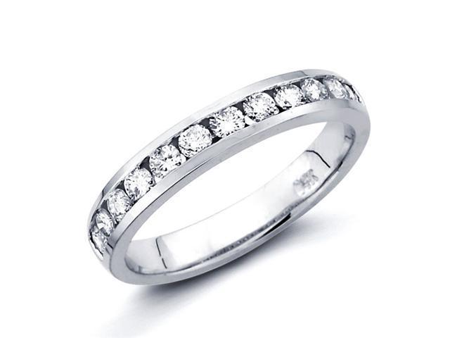 Diamond Wedding Ring 14k White Gold Anniversary Band Channel Set 1/2ct