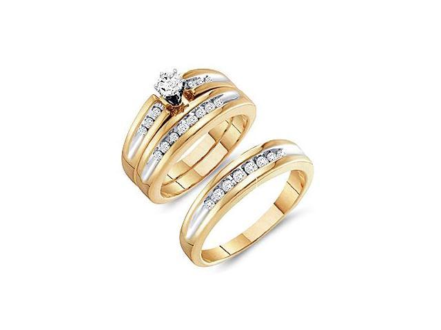 Diamond Engagement Rings Set Wedding Bands Yellow Gold Men Lady .50ct