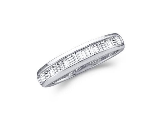 Baguette Diamond Wedding Band 10k White Gold Anniversary Ring (1/4 CT)