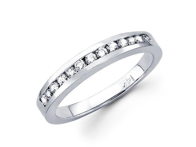 Diamond Wedding Band 14k White Gold Anniversary Ring Channel Set 1/3ct