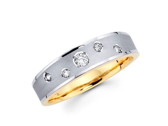 Women's Diamond Wedding Ring 14k Multi-Tone Gold Band (0.13 Carat)