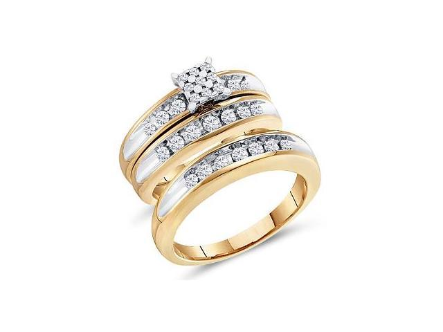 Diamond Engagement Rings Set Wedding Bands Yellow Gold Men Lady .74ct