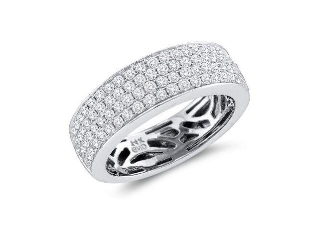 Diamond Wedding Ring 14k White Gold Bridal Anniversary Band (0.98 CT)