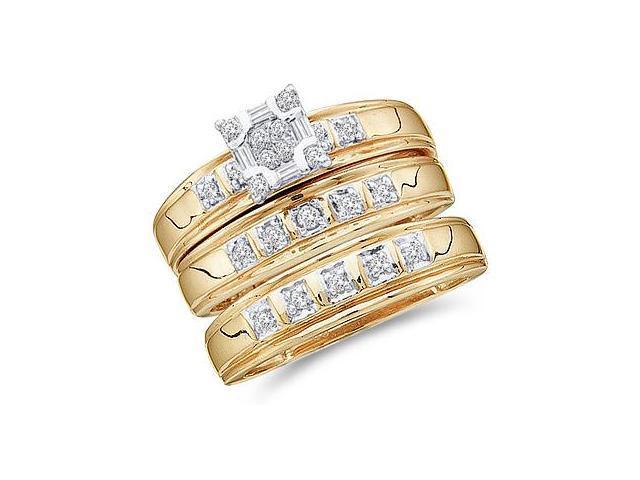 Trio Diamond Rings Bridal Set Engagement Wedding Yellow Gold .33ct