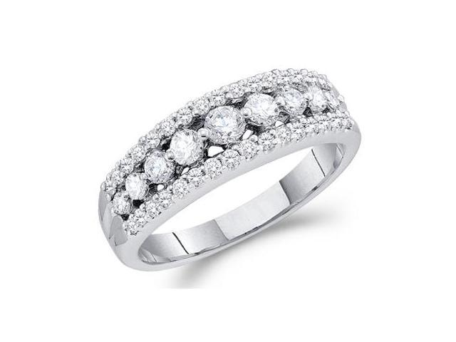 Diamond Wedding Ring 14k White Gold Bridal Band (3/4 Carat)