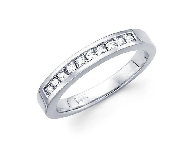 Diamond Wedding Ring 14k White Gold Band Princess Channel Set 0.80 CT