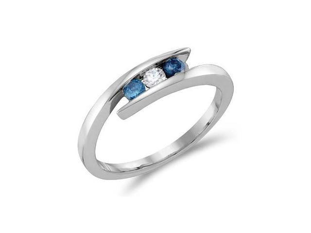 White & Blue Diamond Three Stone Ring 14k White Gold Band (1/4 Carat)