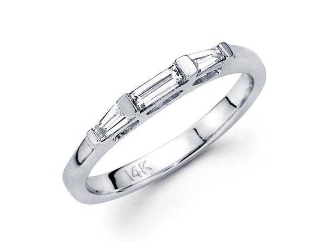 Diamond Wedding Ring 14k White Gold Band Bar Tapered Baguette