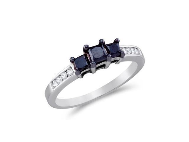 Three Stone Black Diamond Ring 10k White Gold Anniversary (0.83 Carat)