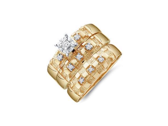 Diamond Engagement Rings Set Wedding Bands Yellow Gold Men Lady .10ct