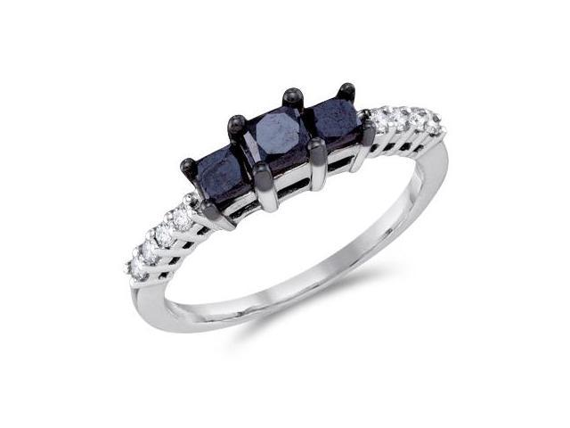 Three Stone Black Diamond Ring 10k White Gold Anniversary (0.98 Carat)