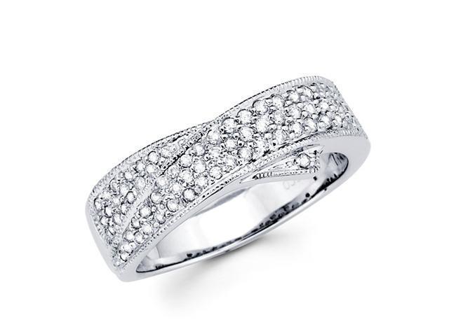 Diamond Anniversary Ring 14k White Gold Wedding Band Pave Set (0.41ct)