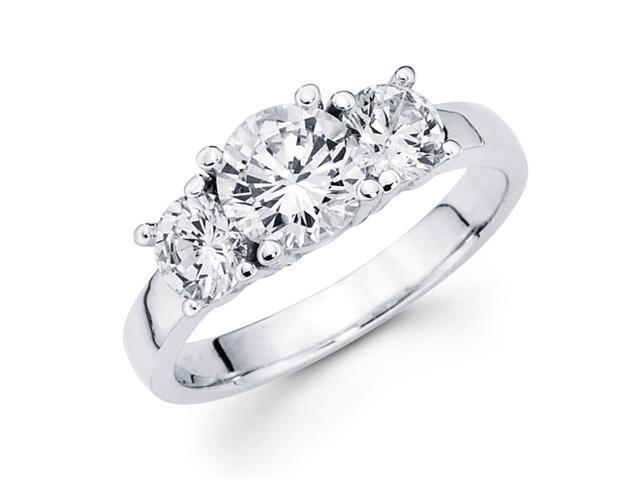 Semi Mount 3 Stone Round Diamond Engagement Ring 14k White Gold 1/3 CT