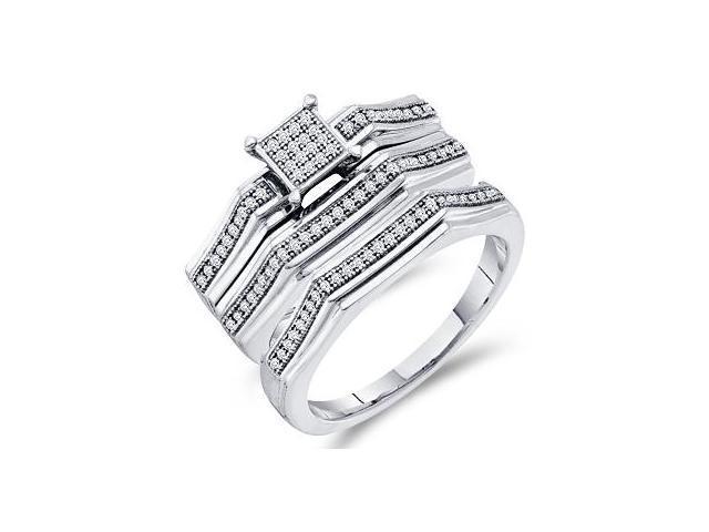 Trio Diamond Rings Bridal Set Engagement Wedding Yellow Gold .25 carat