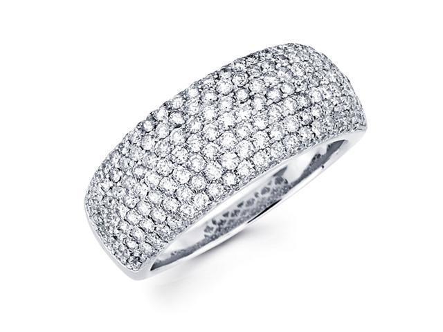 Diamond Anniversary Ring 14k White Gold Wedding Band Pave Set (1.51ct)