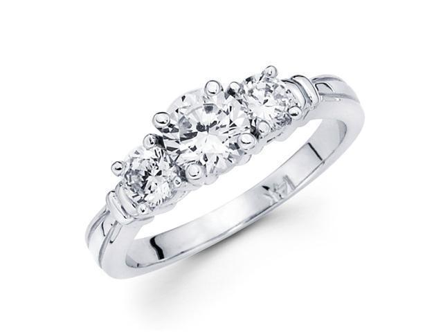 Three Stone Round Diamond Engagement Ring Semi Mount 14k White Gold