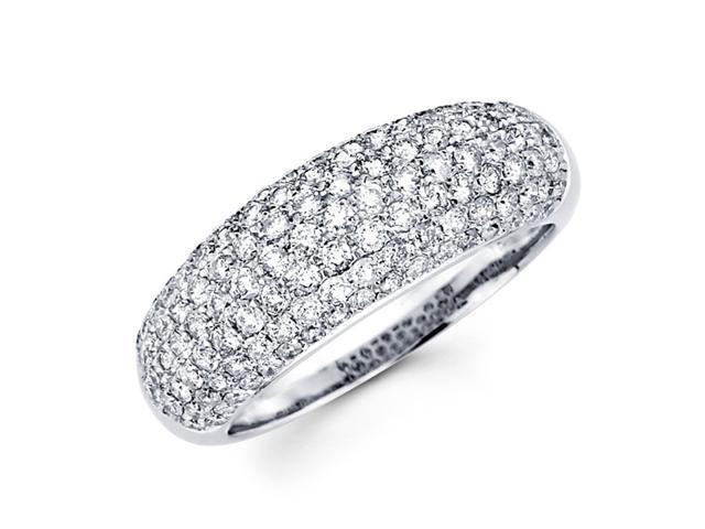 Diamond Anniversary Ring 14k White Gold Wedding Band Pave Set (1.30ct)