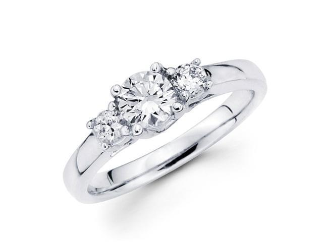 Semi Mount 3 Stone Diamond Engagement Ring 14k White Gold Setting